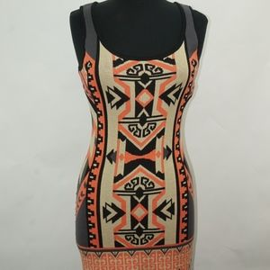 Tribal Body Con Sleeveless Dress M